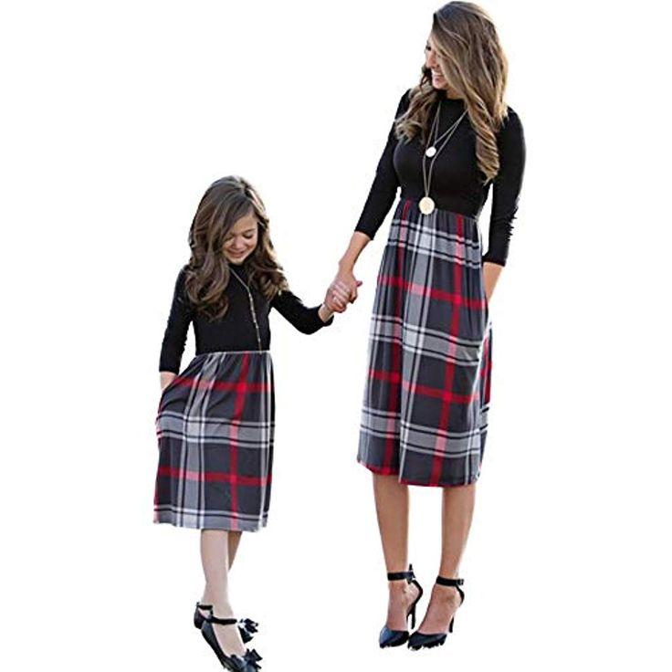 CYICis Mutter Tochter Kleider Familien Matching Outfits Partnerlook Mama Kind Kl…