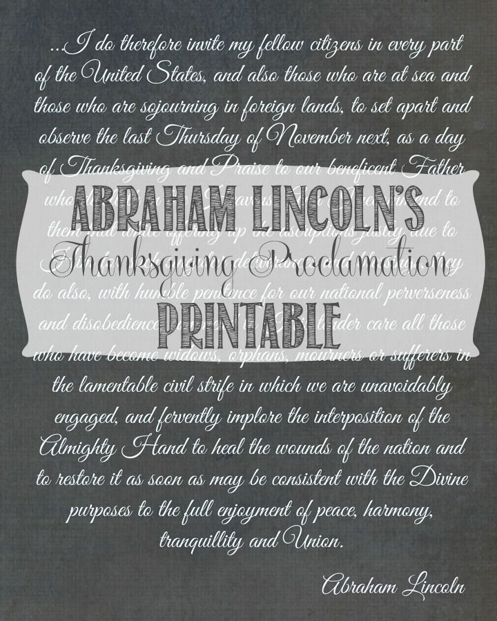 Abraham Lincoln's Thanksgiving Proclamation Printable - Domestically Speaking