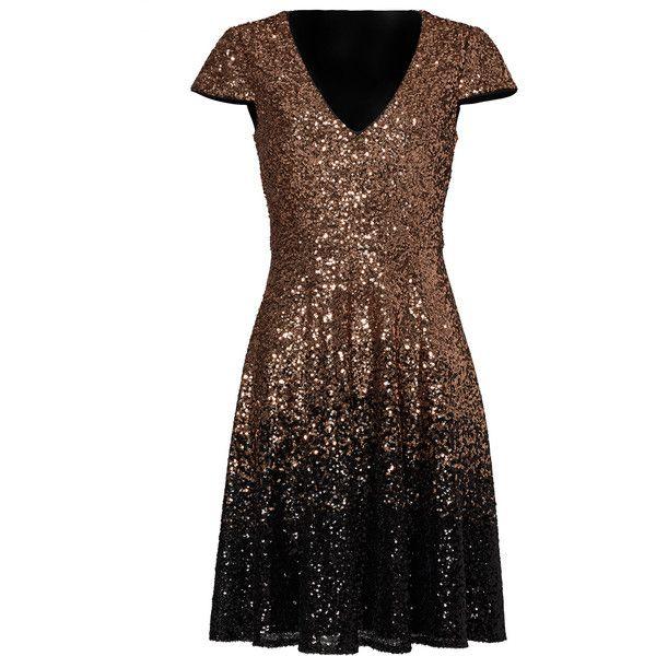 Rental Badgley Mischka Ombre Natasha Dress (£60) ❤ liked on Polyvore featuring dresses, mesh dress, v neck dress, sequin mesh dress, brown cocktail dress and v-neck sequin dresses