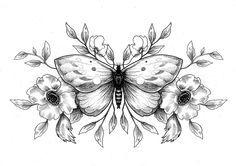 Dessin de Sophie Hedon : https://www.facebook.com/fleurintestinale , #dotwork  #dot #papillon #illustration #butterfly # flower #fleur #floral