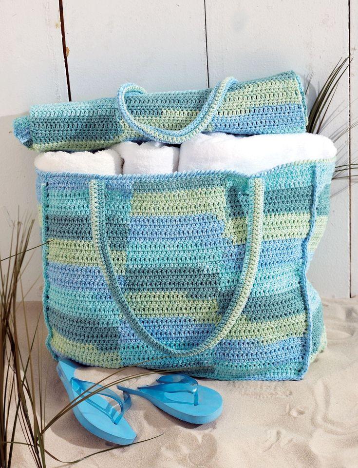 Beach Bag And Mat - Free Crochet Pattern - (yarnspirations)
