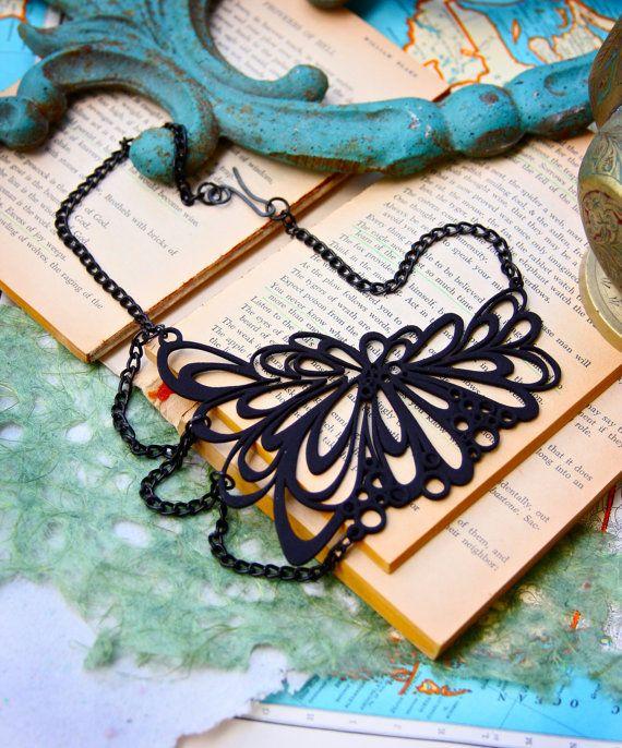 "3d Printed Jewelry - Unusual Black Necklace -""Warp Speed"""