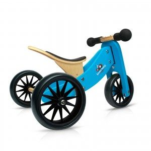 Kinderfeets - Tiny Tot - Blue:  It's the smallest 2-in-1 balance bike on the market. One year olds can start with the Tiny Tot as a trike. With three wheels they can learn how to use their feet to get moving. When a parent feels the child is ready, the Tiny Tot converts easily from a trike to a 2-wheel balance bike. Patented Dutch inspired, low, step-through frame which places children's feet closer to the ground so they feel safe. #alltotstreasures #kinderfeets #tinytotblue #woodentoys…