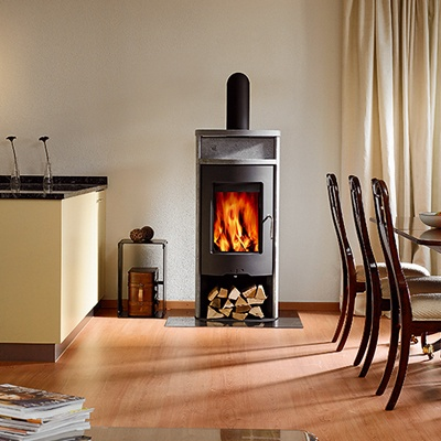 great kitchen fireplace. love that it's flush with floor