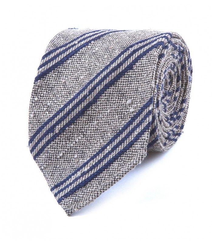 Grey Woven Shantung Triple Stripe Tie