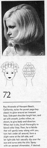 Hair Setting Pattern 1969. Beautiful page boy style, set for body and direction. I love the way the hair curves forward.