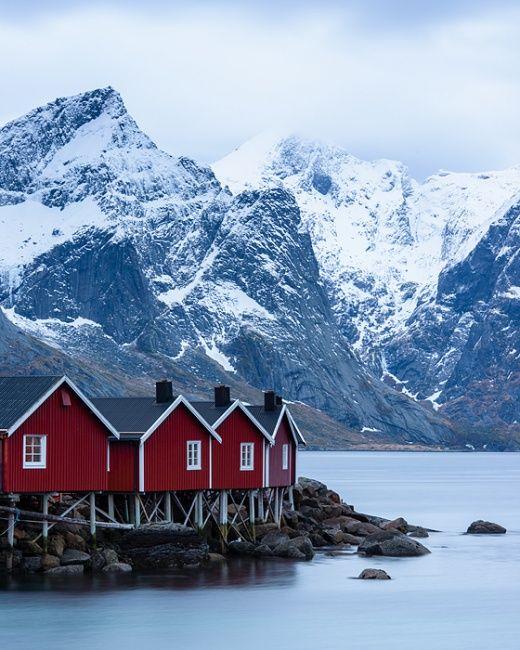 Four red cabins - Hamnoy, Lofoten, Norway by www.bartheirweg.com