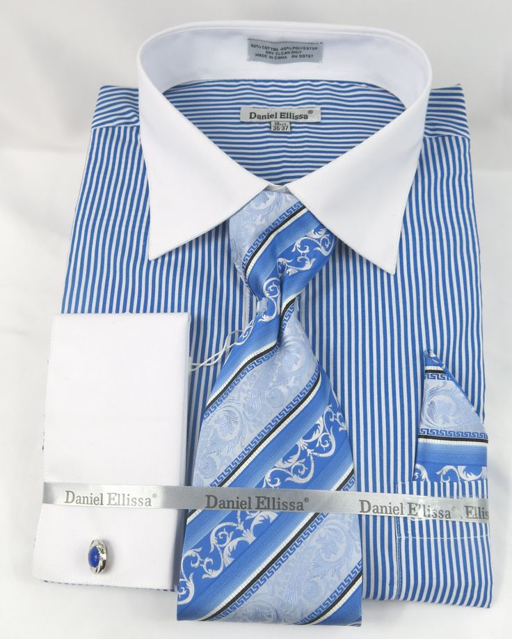Daniel Ellissa Ds3775 Blue Men's French Cuff Dress Shirt Bold Pin Stripe Pattern with White Collar and White French Cuff Shirt (60% Cotton 40% Poly) with matching cuff links just $44.99 at BerganBrothersSuits.com