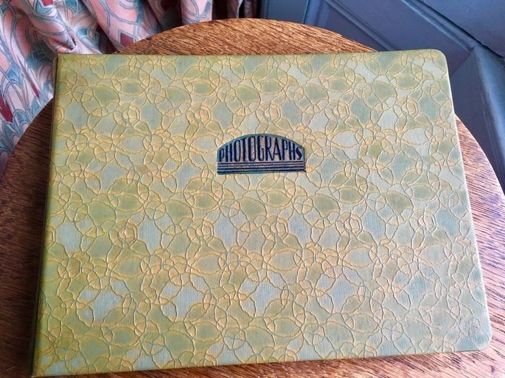 Art Deco Photograph Album/1930's/OLIVE green patterned vinyl type cover/Unused ?    eBay