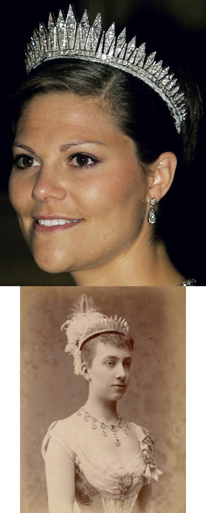The Baden Fringe Tiara of Sweden. It originally belonged to Queen Victoria of Sweden (1862-1930). It was a wedding gift from her parents, the Grand Duke and Duchess of Baden, for her 1881 marriage to Crown Prince Gustaf of Sweden. The tiara is composed of 47 diamond rays. Above: Victoria, Crown Princess of Sweden, Bottom: Queen Victoria of Sweden