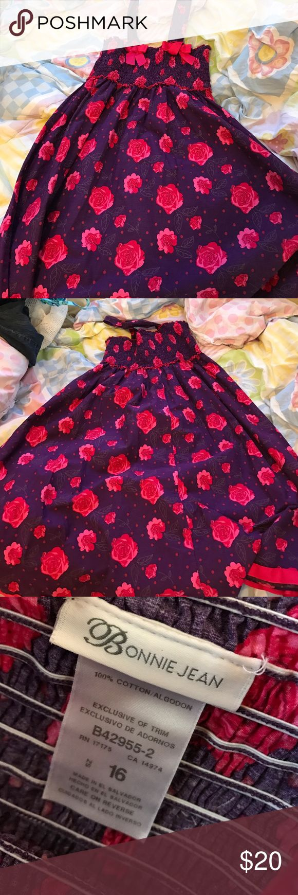 Red Rose Kids Maxi Dress Kids Red Rose and Purple Maxi Dress with two bows on the straps and best for any occasion. Bonnie Jean Dresses Casual
