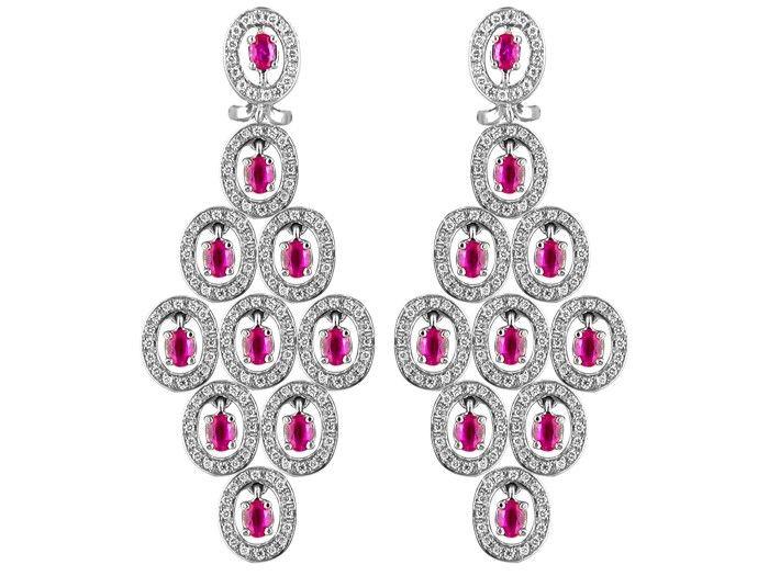 18kt White Gold Oval Drop Ruby Diamond Earrings. $6,790.