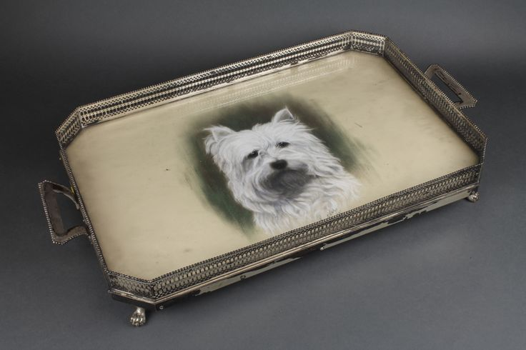 "Lot 530a, An Edwardian silver 2 handled pierced gallery octagonal tray on claw feet with painted dog study, London 1908, 24"", est  £300-500"