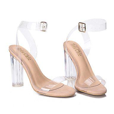 Mujer-Tacón Robusto Talón de bloque-Zapato transparente-Sandalias-Vestido Informal Fiesta y Noche-PVC-Blanco 5656811 2017 – $32.99