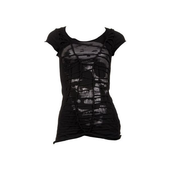 Skull Cut Up Tee (€18) ❤ liked on Polyvore featuring tops, t-shirts, shirts, blusas, tees, women, scoop neck tee, layering tees, print t shirts and long shirts