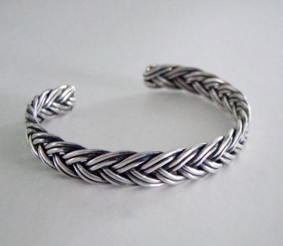 Vintage Sterling Silver Handmade Braided Bangle Bracelet