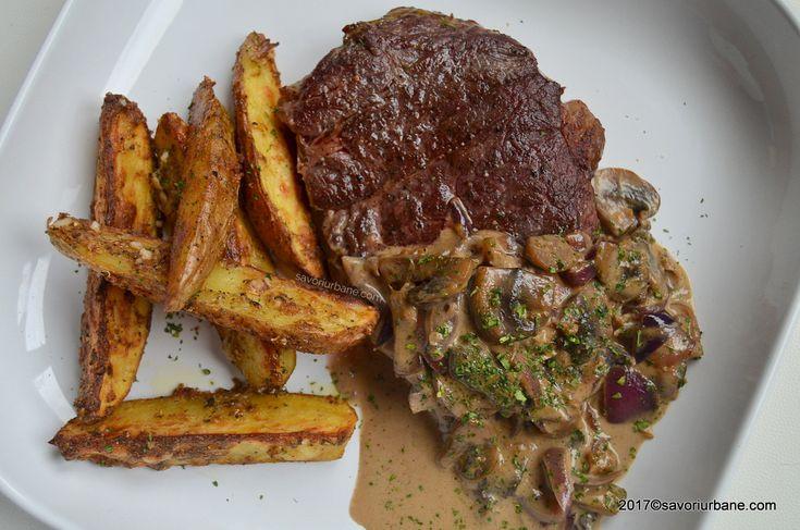 Friptura de vita la tigaie cu sos de ciuperci - Steak Diane. O reteta clasica de antricot de vita la gratar (sau tigaie), cu un sos fin de ciuperci mustar
