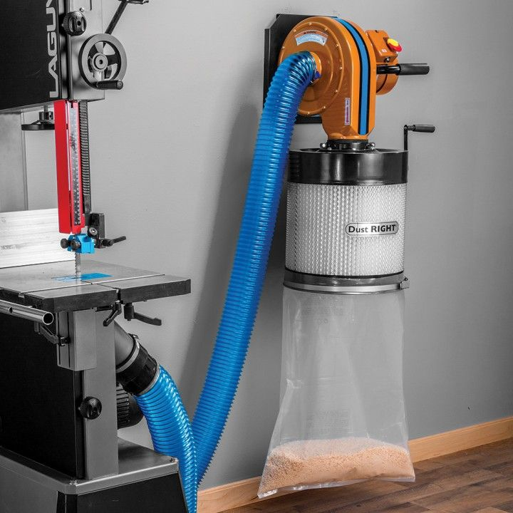 Rockler Dust Right® Wall Mount Dust Collector with Canister Filter features  a 650 CFM suction rating and a 3/4 HP motor allowing it to handle even the dustiest projects.