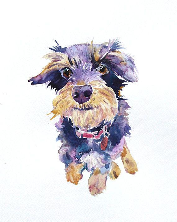 Custom Pet Portrait - Custom Portraits - Animal Painting - 11x14 inchs - Original Watercolor Painting - Dogs -Art Gift - Illustration