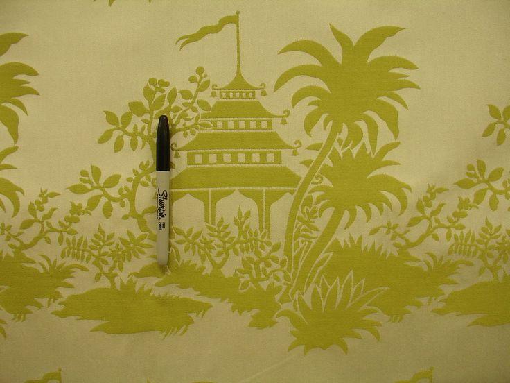 Asian Chinese Chinoiserie Pagoda Damask Green Cream Upholstery Drapery Fabric