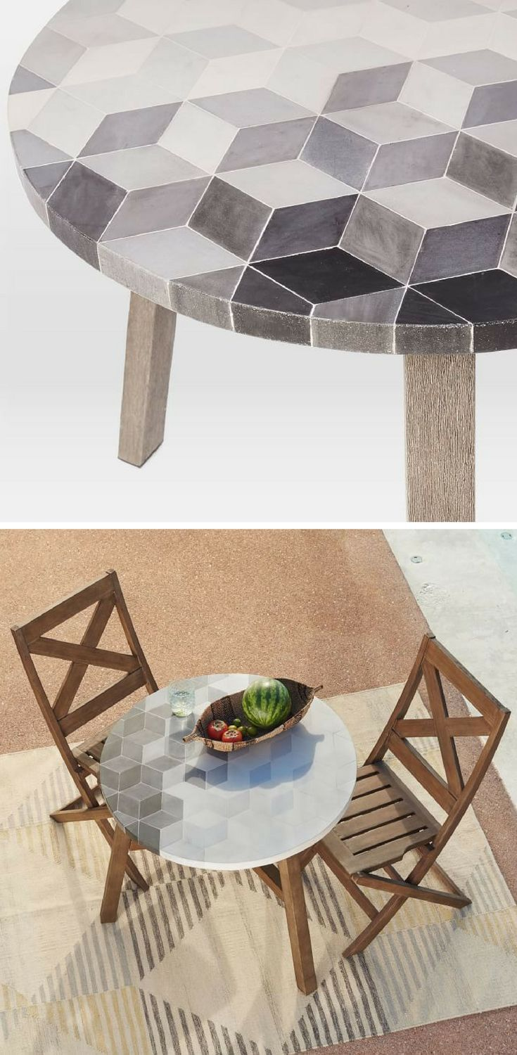 This Mosaic Tiled Bistro Table Adds A Little Art To Small E It Is Made Of Concrete And Hardwood So Can Be Used Indoors Or Outdoors Cute