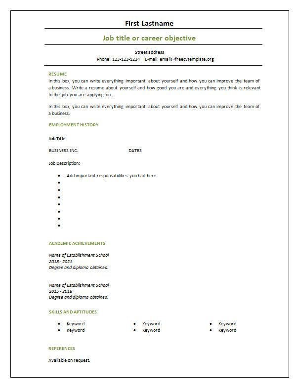 Cv Template Blank 2 Sample Resume