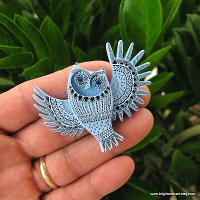 I Love Handmade: The Illustrated Owl Brooch by brightcolorart