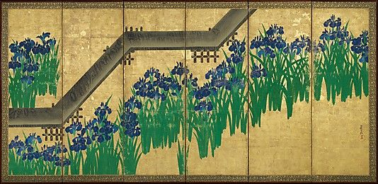 Ogata Kōrin - Irises at Yatsuhashi (Eight Bridges)