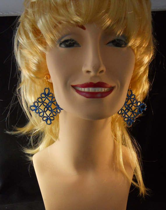 Tatted Earrings in Royal Blue and Gold by MummyearthDesigns