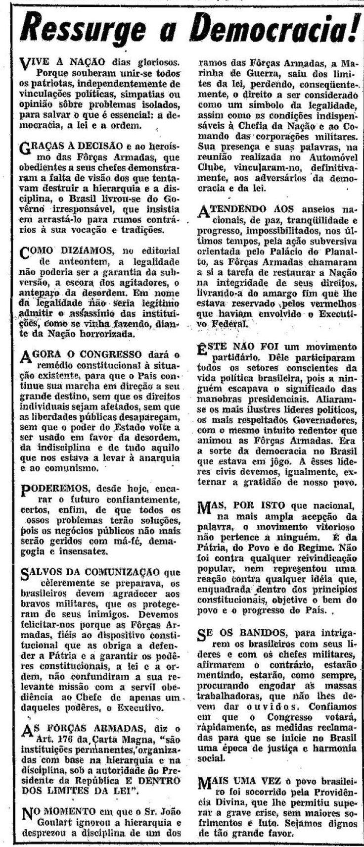 Polêmico edital do jornal O Globo apoiando o golpe militar - 02/04/1964.