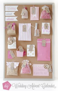 """DIY Wedding // how to make a darling """"Wedding Advent Calendar"""" for your bestie to unwrap and celebrate the days leading up to her wedding day!"""