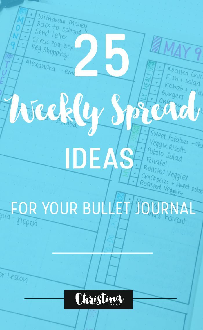 25 Weekly Spread Ideas for your Bullet Journal - http://christina77star.co.uk