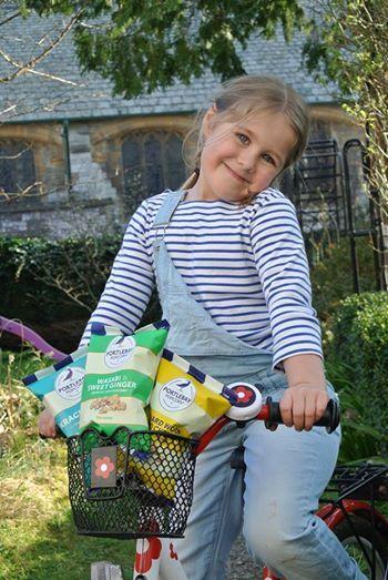 Stripes and popcorn - she's got the right idea!