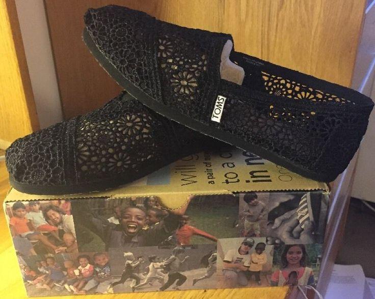 Toms Black Crochet Women's Classics Flats Size 7 #Toms #Flats
