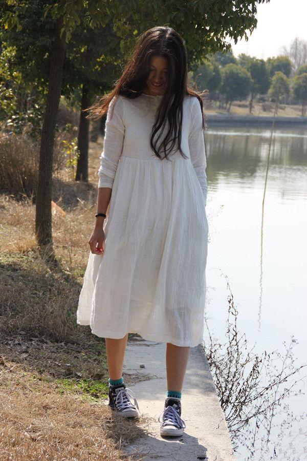 Новый 2014 осень зима женщин 3/4 рукав длинный дизайн винтаж белье хлопок широкий платья длинное платье женщин старинные платья, принадлежащий категории Платья и относящийся к Одежда и аксессуары на сайте AliExpress.com   Alibaba Group