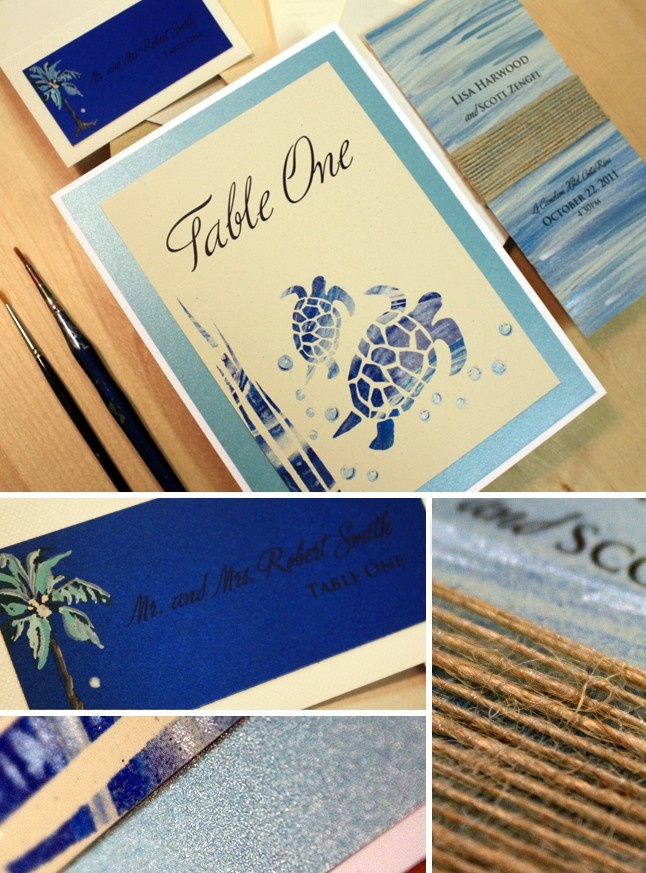 are labels on wedding invitations tacky%0A Blue and Tan  Hibiscus Handpainted Wedding Invitation