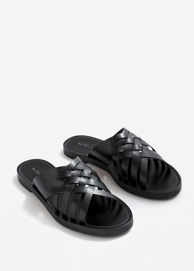 Leather braided sandal   MANGO