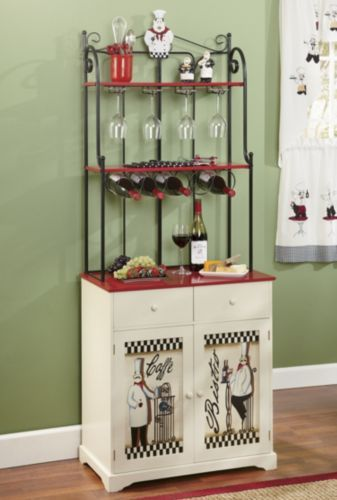 Bon Appetit Bakers Rack Make The Most Of Kitchen Space While Adding A Touch  Of Decorative Flair. Chef Themed Bakeru0027s Rack Has Racks For Wine And Wine  ...