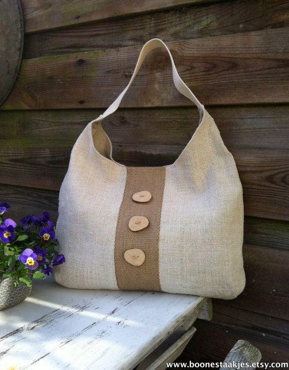 Recyclé antique sac cabas en lin avec toile de jute, sac à bandoulière