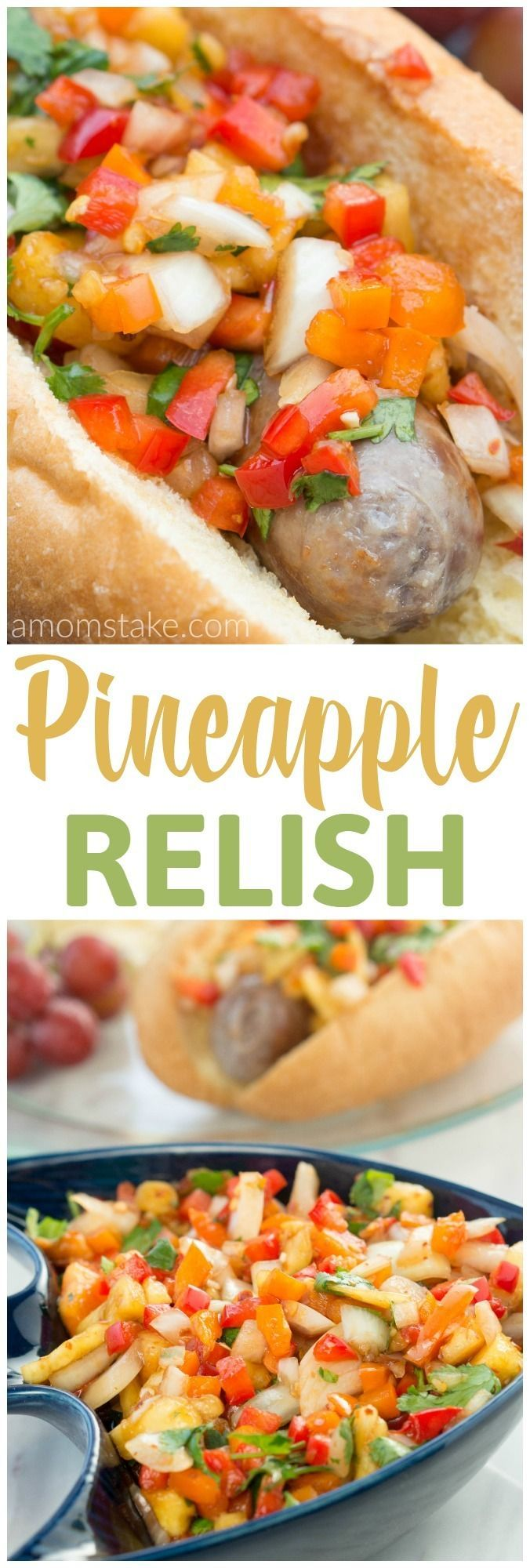 This pineapple relish will be the perfect garnish for all your favorite recipes! Serve it on top of brats, hamburgers, chicken, steak, or fish! Yummy side dish to add to your picnic or dinner recipe! #ad @Jvillesausage