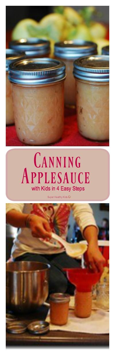 Canning Applesauce with Kids in 4 Easy Steps. Canning your own lets you make it as thick as you like! http://www.superhealthykids.com/canning-applesauce-with-kids-in-4-easy-steps/