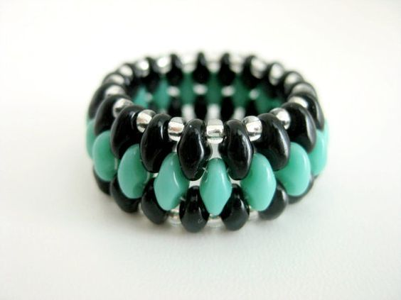 Super Duo Peyote Ring Turquoise Black Silver by MadeByKatarina
