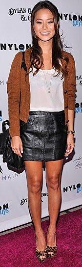 rust cardigan, black pencil skirt, white ruffle blouse