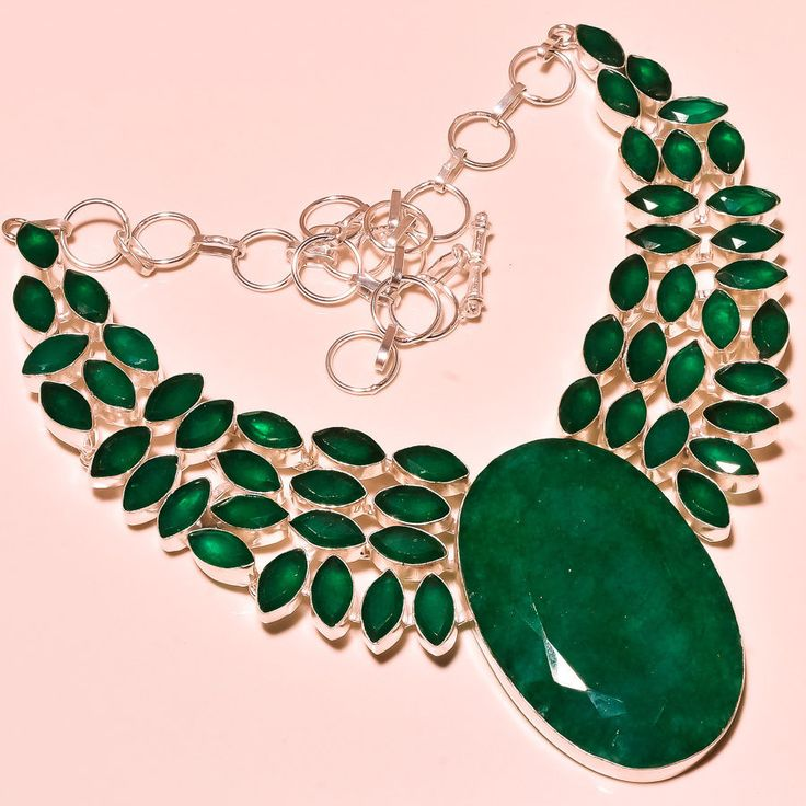 Faceted Zambian Emerald 925 Silver Necklace Jewelry Silver eBay 585CTS #Handmade #Choker
