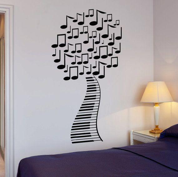 Vinyl Decal astratta musica albero foglio musicale camera