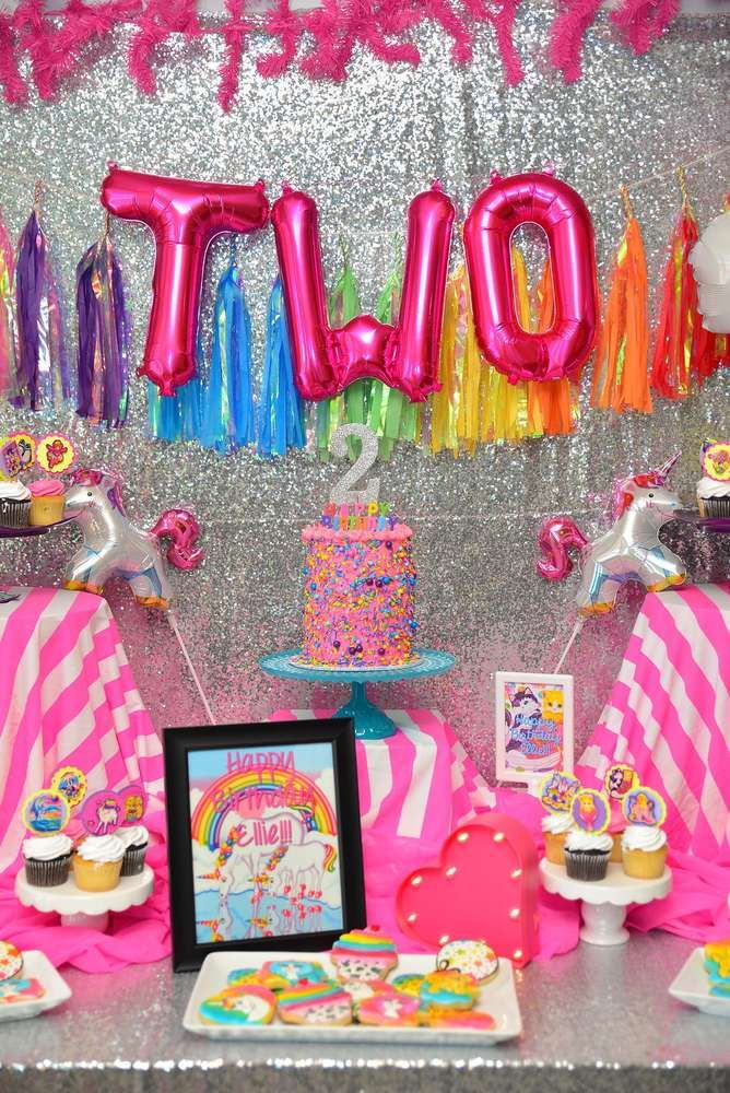 Retro Lisa Frank unicorn birthday party! See more party planning ideas at CatchMyParty.com!