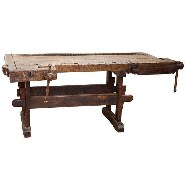 Lovely 19th century French hardwood carpenter's work bench with 2 vises. Would make a great kitchen island or console table. There is an option for us to fit 19th century slate in the channel.