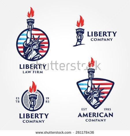 Set of Attractive and Memorable, Solid And Bold Liberty Statue Badges. Conveys such values as Liberty Freedom Justice Truth Equity Pride Honor Patriotism Fairness Dreams Aspirations Ambitions.