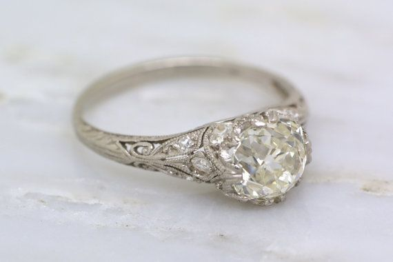 2.10ctw Antique Edwardian 1.60ct Old Mine Cut Diamond Engagement Ring; Platinum, .50ct Single Cuts, Engraving, Milgrain, Open Filigree R418 by pebbleandpolish on Etsy