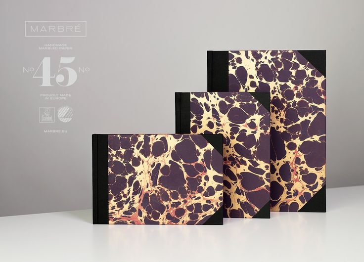 Notebooks with handmade marbled cover paper. Three sizes, ruled and plain. Every book is unique. Nordic and EU Ecolabel certified. marbre.eu/ #marbré #notebook #journal #cover #book #marble #handmade #ecolabel